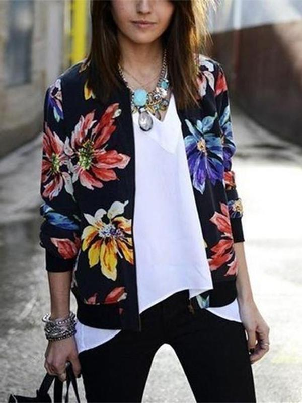 Women Casual Long Sleeve   Zipper Printed Short Baseball Jacket Coat