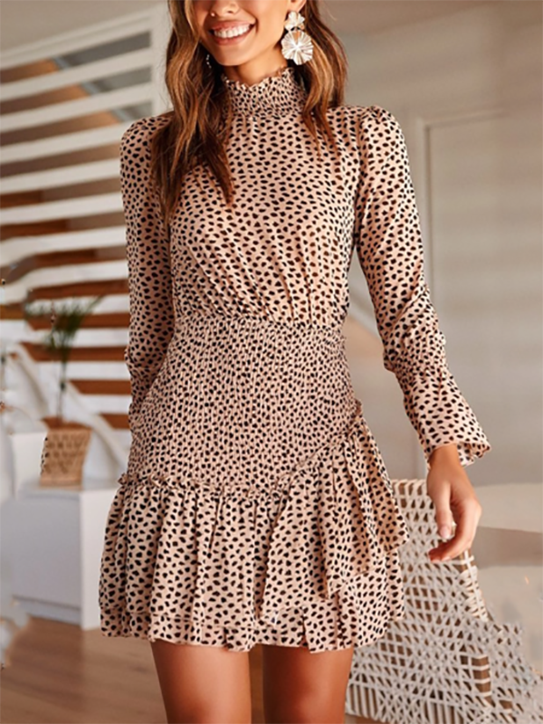 Women Printed Waist Long Sleeve   Asymmetric Stitching Mini Dress