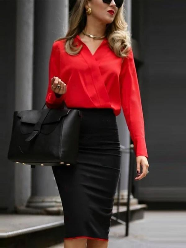 Women Autumn And Winter Professional Color Matching Overlap Dress Bag Hip Skirt Bodycon Dress