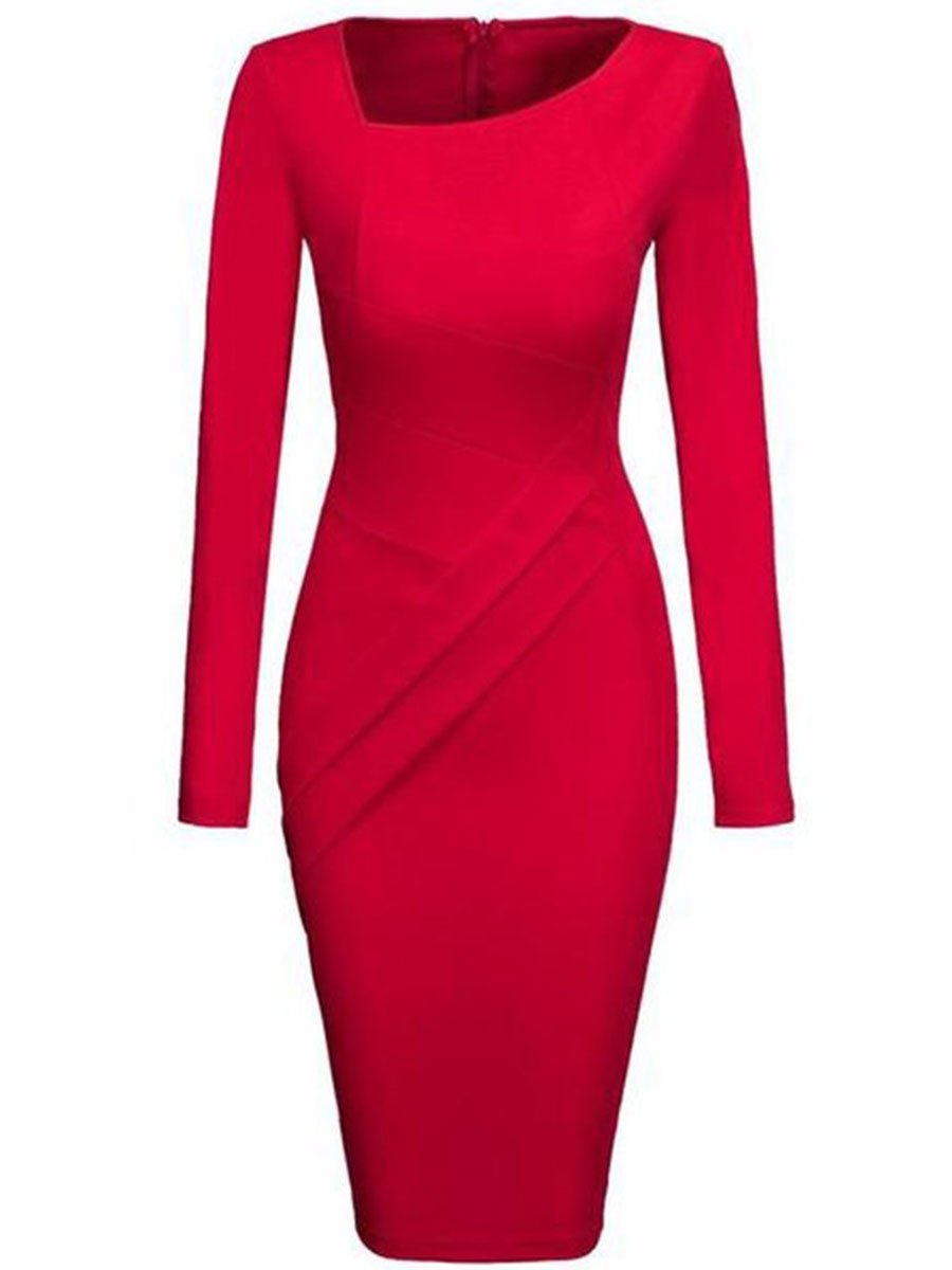 Women Asymmetric Neck Plain Split Bodycon Dress