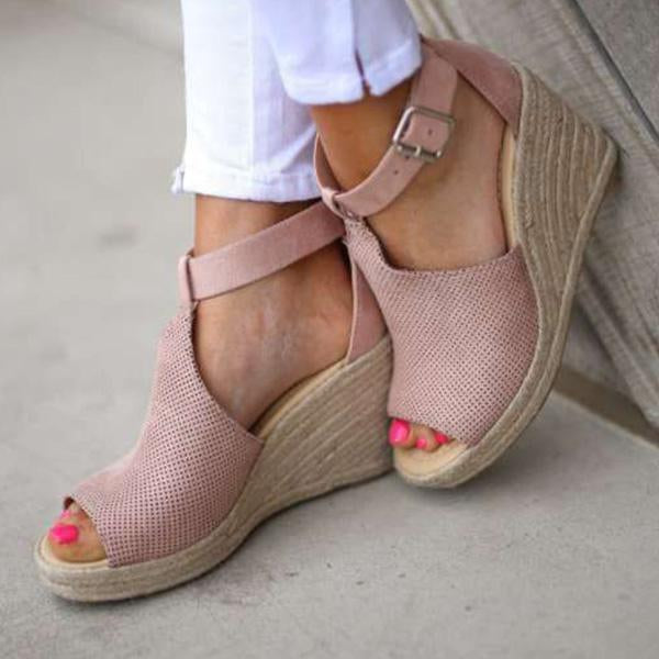 Women Chic Espadrille Wedges Sandals with Adjustable Buckle - veooy