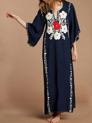 Women Cotton Embroidered Beach Holiday Dress
