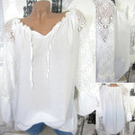 Decorative Lace Solid Color Long Sleeve Blouses