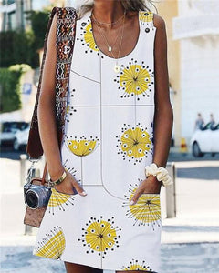 Spring Women Mini Dresses Daily Dandelion Printed Dresses