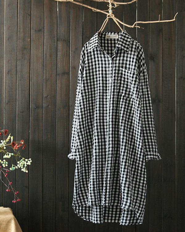 Plaid Lapel Long Sleeve Irregular Vintage Long Blouse Tops - nayachic