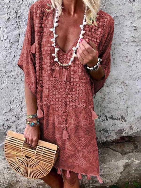Women Bohemian V Neck Half Sleeve Mini Dresses - nayachic
