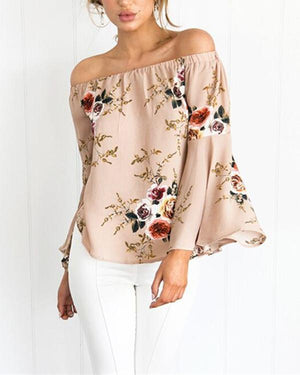 Blouse Fashion Floral Neck Tray Casual Summer Pink Woman - nayachic