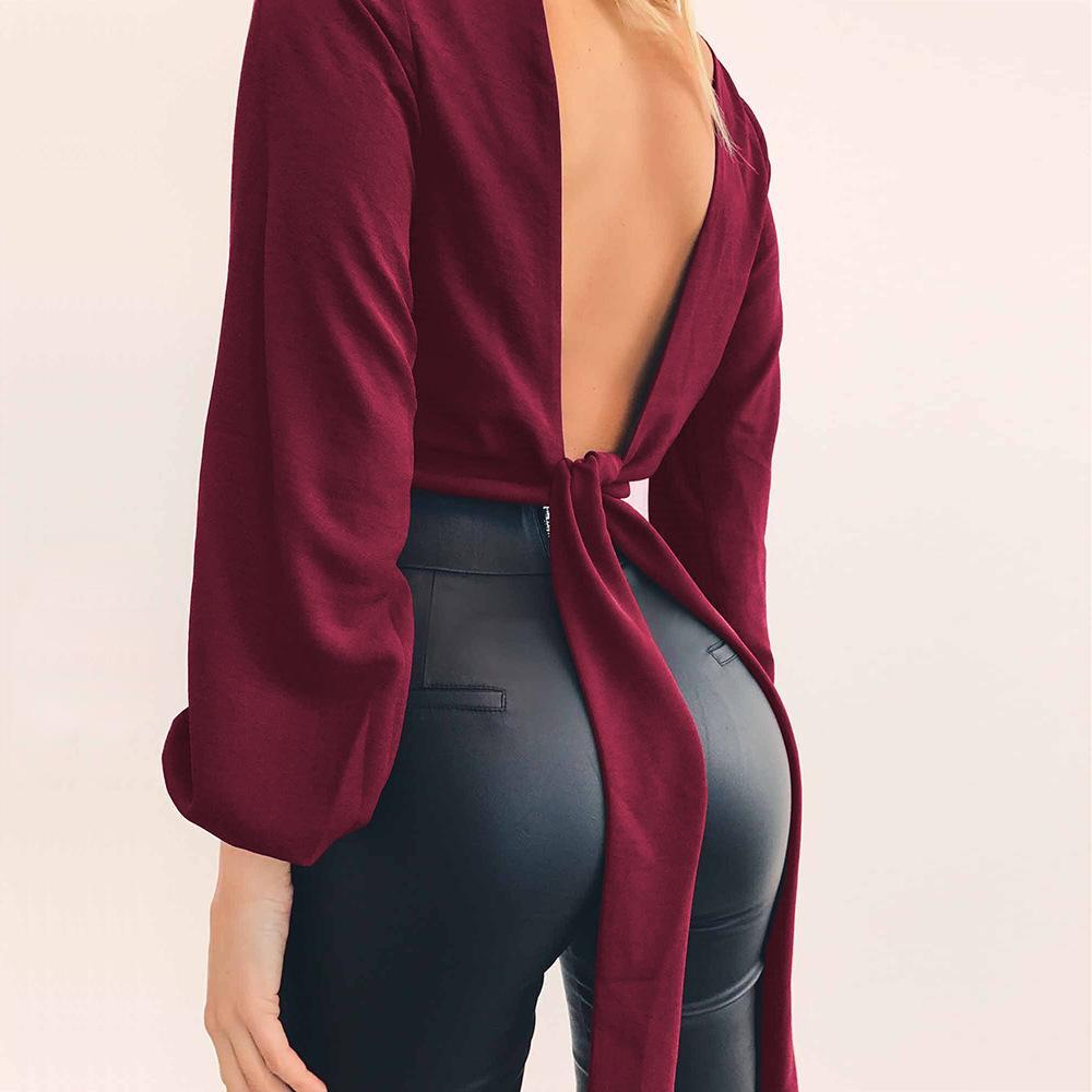 Bare Back Sexy V-Neck Long Sleeve Solid Color T-Shirt