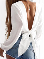 Women Bare Back Sexy V-Neck Long Sleeve Solid Color T-Shirt