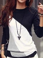 Women Autumn Spring  Cotton Blend  Women  Round Neck  Color Block Long Sleeve T-Shirts
