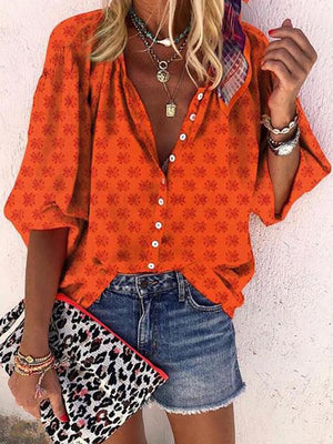 Women Casual Printed Round Neck With Buttons Halflong Sleeve Shirt