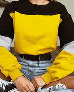 Punk Felpa Con Coulisse Patch Color Sweatshirt