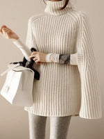 Women Cowl Neck  Striped  Cape Sleeve  Half Sleeve Pullover