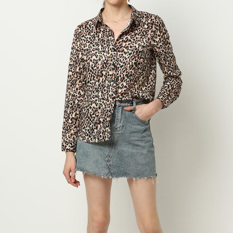 casual leopard print chiffon long sleeves shirt