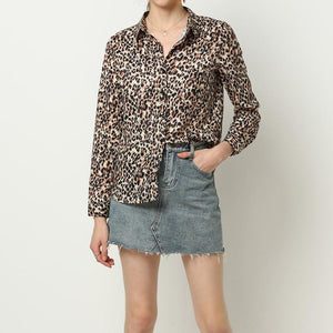 Women casual leopard print chiffon long sleeves shirt