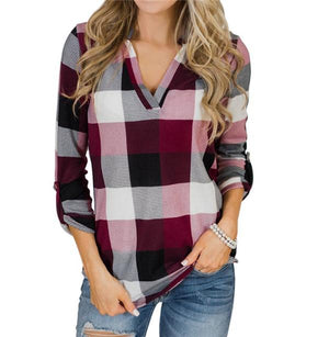 Casual V Neck Plaid Long Sleeve Blouse - nayachic