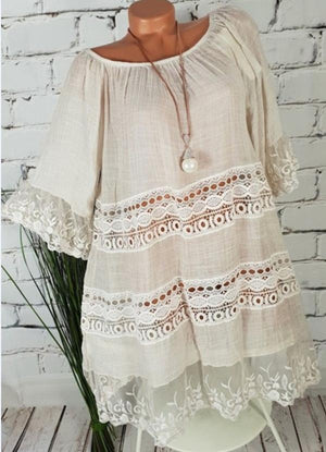 Women Casual Plus Size Ruffle Lace Stitching Mini Dress