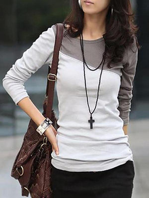 Women Autumn Spring  Cotton Blend  Women  Round Neck  Color Block  Long Sleeve Long Sleeve T-Shirts