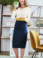 Women Autumn And Winter Simple European And American Style Windbreaker Bag Hip Skirt Color Matching Bodycon Dress