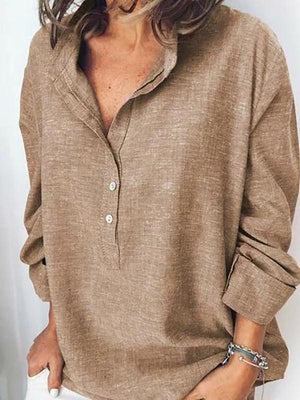 Women Band Collar  Loose Fitting Plain Blouses