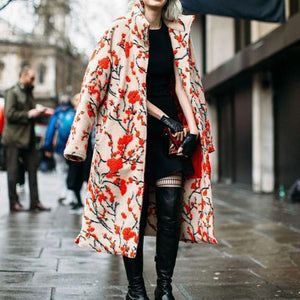 Women Elegant High Collar Jacquard Weave Oversized Long Sleeves Coat