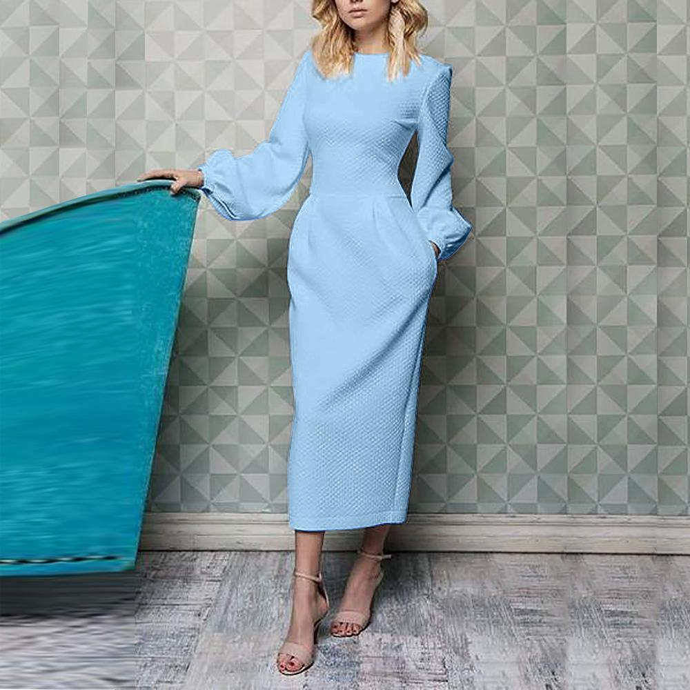 Elegant Plain Lantern Sleeve Round Neck Dress