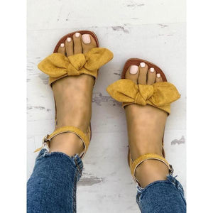 Solid Denim Bow Decorate Sandals - veooy