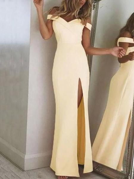 Women Elegant Off Shoulder Slit Maxi Dresses