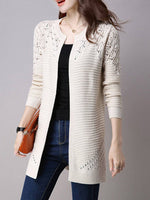 Women Collarless Snap Front Crochet Hollow Out Trench Coats