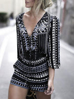 Women Deep V Neck  Printed Vintage  Half Sleeve  Playsuits