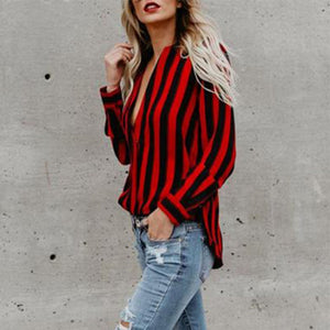 Women Deep V Neck  Striped  Blouses