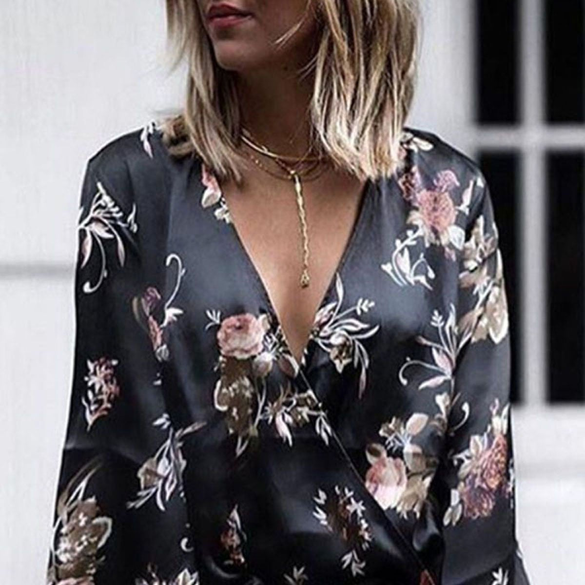 Women Deep V Neck  Floral Printed  Bell Sleeve Blouses
