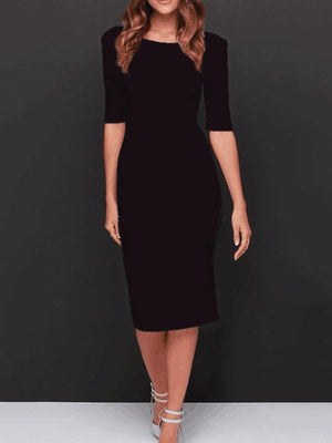 Boat Neck  Plain  Blend Bodycon Dresses