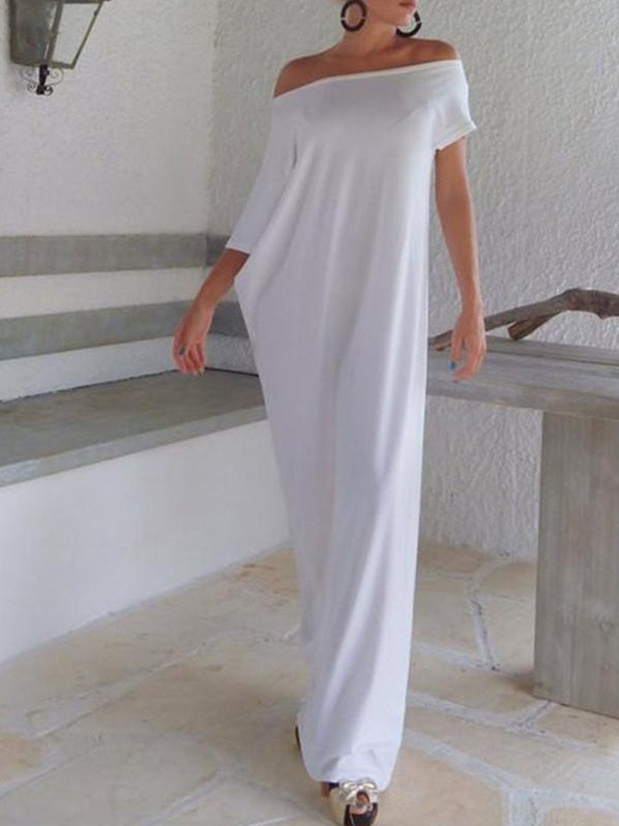 Women One Shoulder  Plain Maxi Dresses
