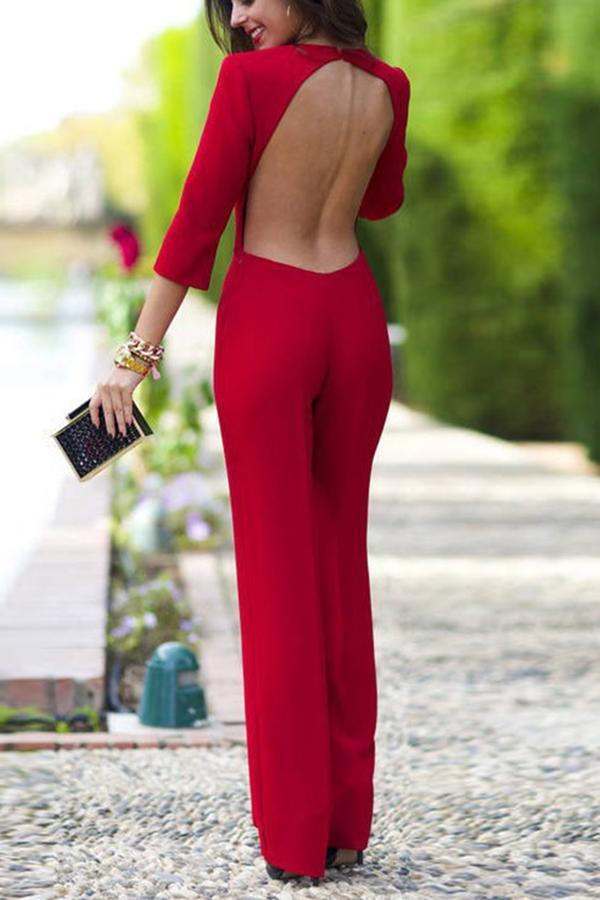 Women Elegant Long Sleeves Backless Solid Jumpsuit