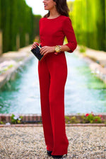 Elegant Long Sleeves Backless Solid Jumpsuit