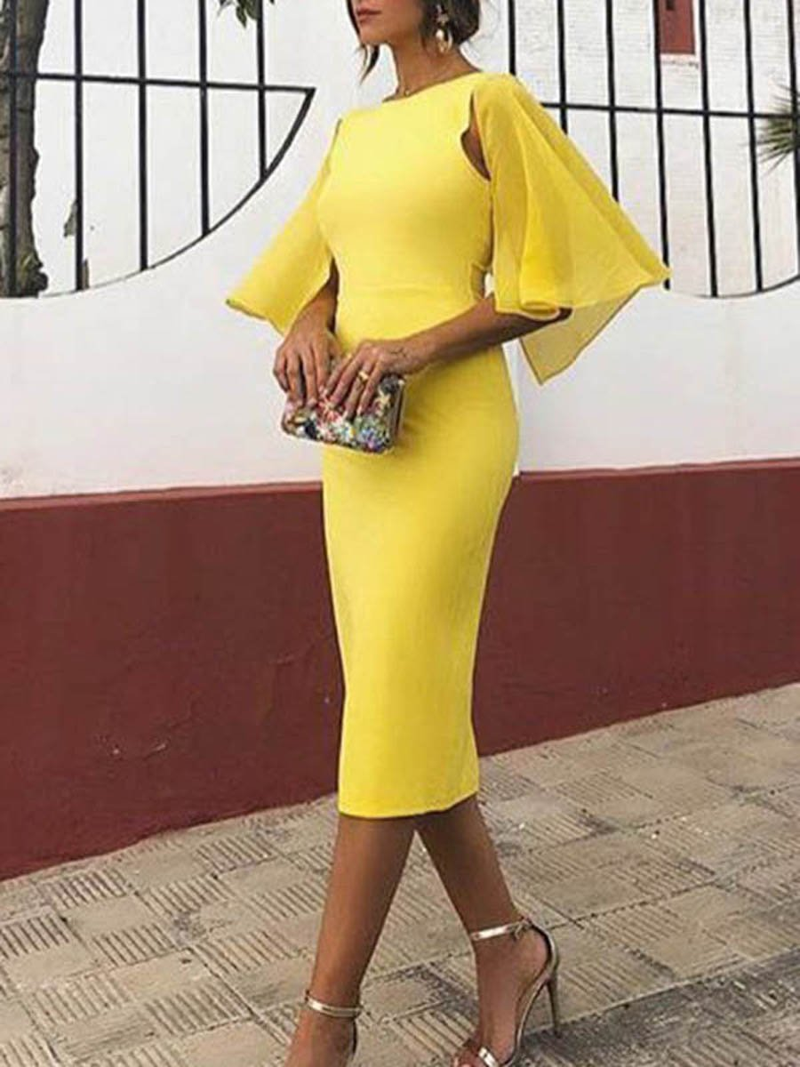 Women Elegant Backless Short Sleeve Bodycon Mini Dress
