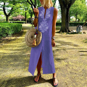 Women Cotton/Line Casual V-Neck Maxi Dress