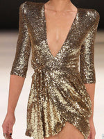Women Deep V Neck Low-Cut Sexy Sequin Party Dresses