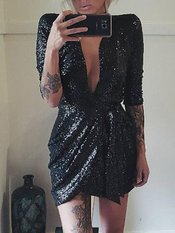 Deep V Neck Low-Cut Sexy Sequin Party Dresses