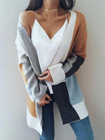 Women Color Block Ribbed Cardigan