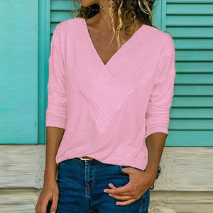 Women Brief V Neck Long Sleeve Plain Casual T-Shirts