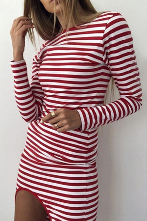 Women Crew Neck  Asymmetric Hem  Striped  Long Sleeve Bodycon Dresses