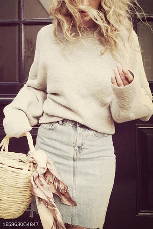 Women Crew Neck  Plain  Puff Sleeve Sweaters