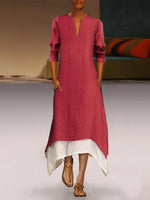 Women Cotton/Linen Contrast Color Casual  Maxi Dress With Pocket