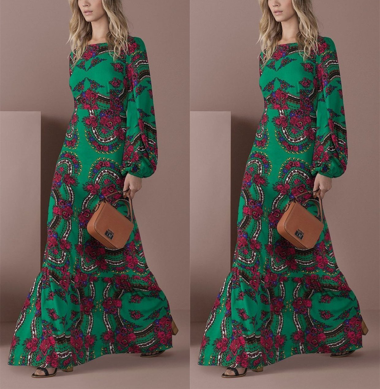 Women Elegant Green Long-Sleeved Floral Printed Maxi Dress