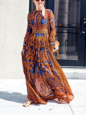 Women Chiffon Print Long-Sleeved Vintage Maxi Dress
