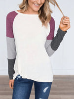 Women Crew Neck  Cutout Lightweight Patchwork  Contrast Stitching  Plain Long Sleeve T-Shirts