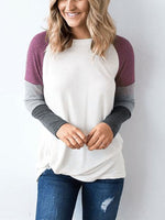 Crew Neck  Cutout Lightweight Patchwork  Contrast Stitching  Plain Long Sleeve T-Shirts