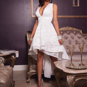 Elegant Fashion Slim Lace Sleeveless Deep V Collar Irregular Hem Evening Dress